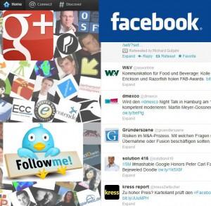 Bild: Nachrichtenstream bei Facebook, Google+ und Twitter