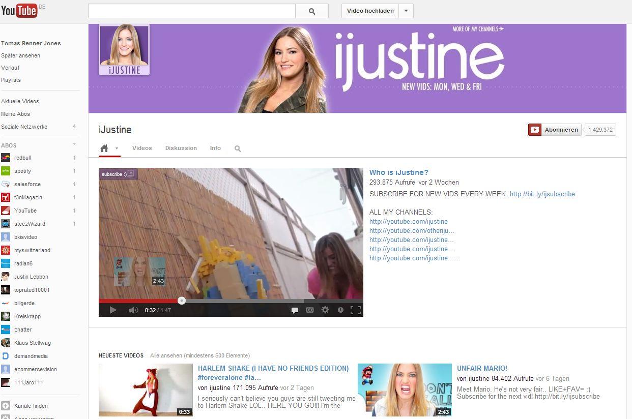 Beispiel Neues Layout für YouTube Chanel 2013